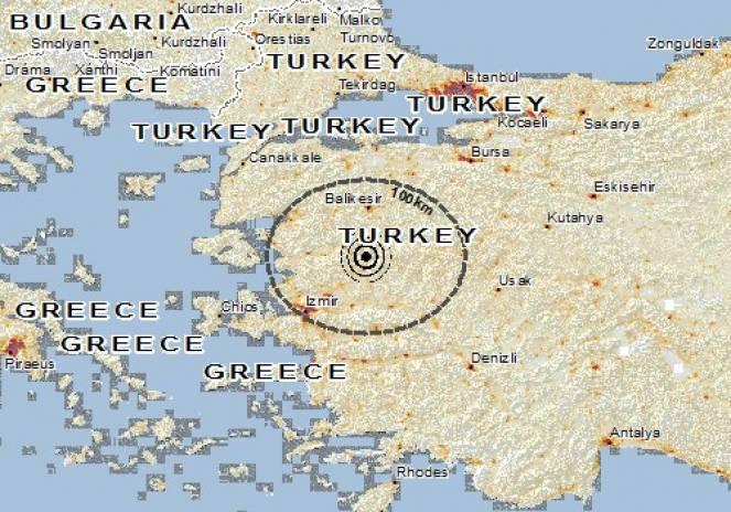 Scossa di terremoto a Gelembe, Turchia