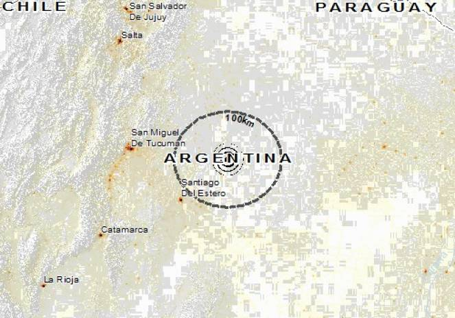 Scossa di terremoto a Campo Gallo, Argentina