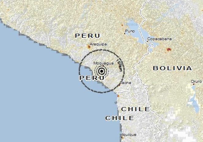 Scossa di terremoto a Moquegua, Perù