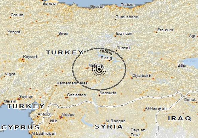 Scossa di terremoto a Kale, Turchia