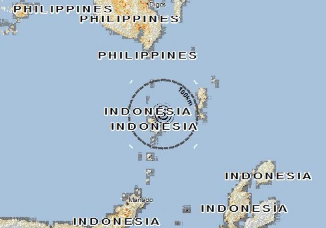 Scossa di terremoto a Enemawira, Indonesia