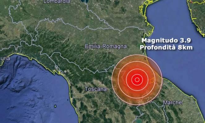 Terremoto Emilia Romagna magnitudo 3.9 provincia Forlì-Cesena
