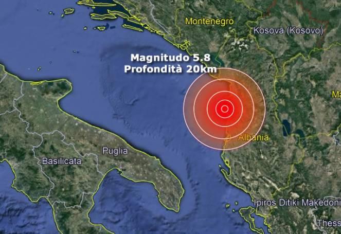 Terremoto, forte scossa in Albania di magnitudo 5.8, avvertita anche in Italia in Puglia