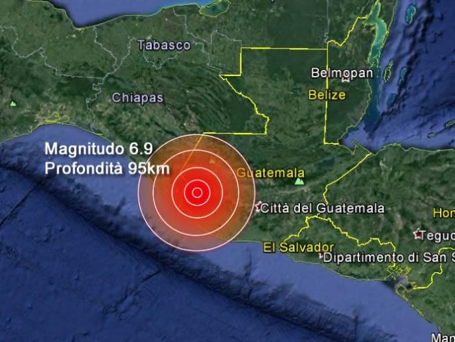 Centro America : forte scossa di terremoto in Guatemala, trema anche il Messico