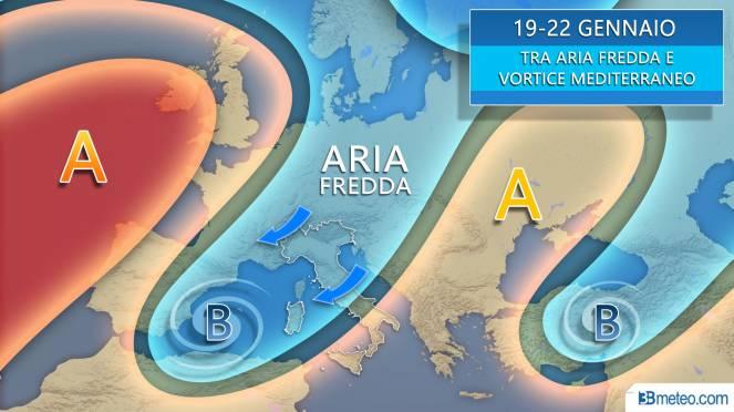 Tra domenica e l'inizio della nuova settimana Italia compresa tra le correnti fredde da nordest e un vortice mediterraneo