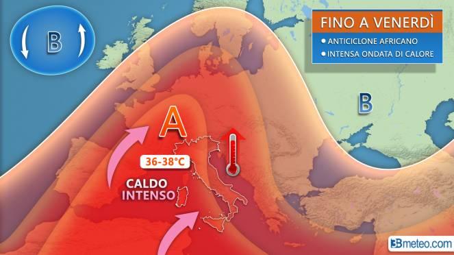Tra mercoledì e venerdì l'apice dell'ondata di calore per l'espansione e il rinforzo dell'anticiclone africano sull'Europa