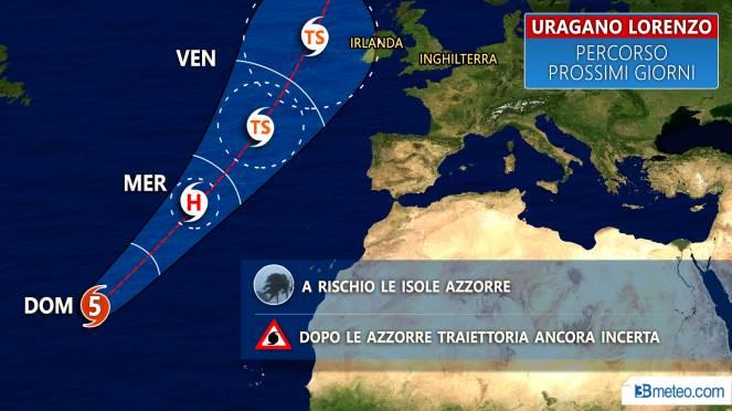 Uragano Lorenzo: track prevista per i prossimi giorni