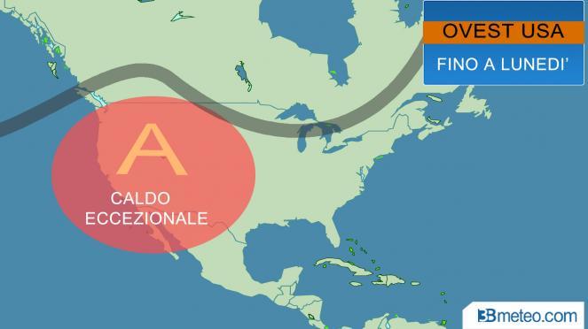 USA: caldo eccezionale per gli USA occidentali