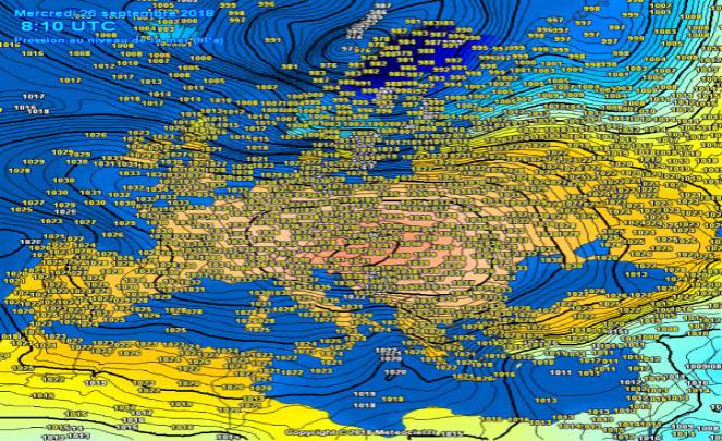 Valori di pressione atmosferica in Europa
