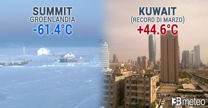 Valori termici estremi raggiunti in questi giorni su Groenlandia e Penisola Arabica