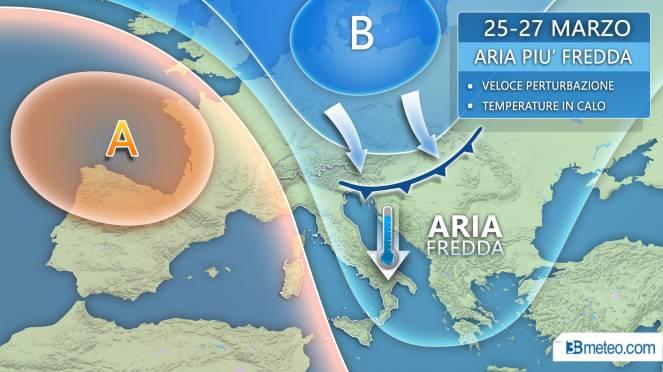 Veloce perturbazione con aria più fredda a partire dal 25 marzo.