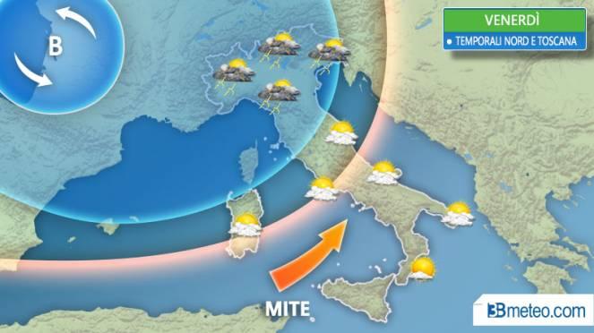 Previsioni meteo, tornano temporali e grandine