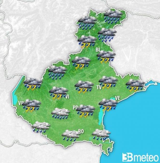 Veneto: giovedì sera rovesci e temporali