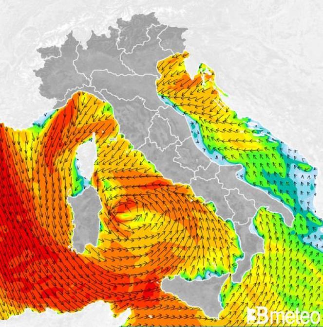 Venti previsti giovedì mattina sull'Italia