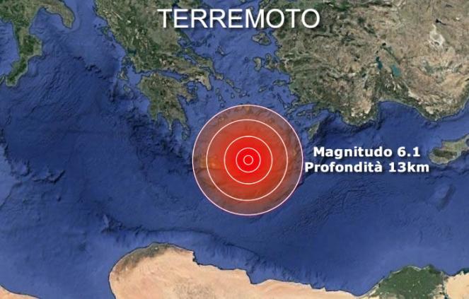 Violenta scossa di terremoto colpisce l'isola di Creta