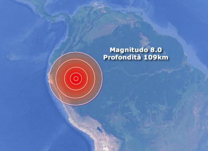 Violento terremoto in Perù, magnitudo 8.0