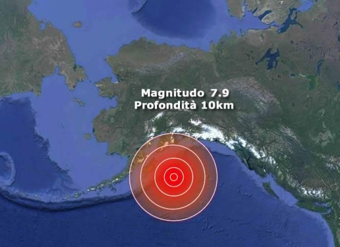 Violento terremoto nel Golfo dell'Alaska (Stati Uniti) magnitudo 7.9