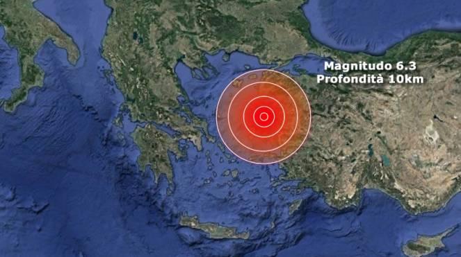 Terremoto Turchia, violenta scossa di M 6.0 sul Mar Mediterraneo