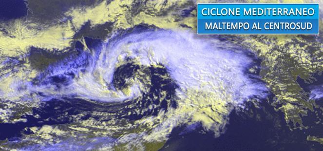 VORTICE MEDITERRANEO in azione: pioggia, vento e neve verso il Centrosud