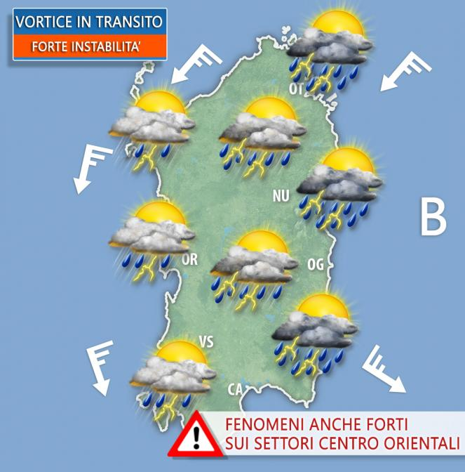Vortice in transito sulla Sardegna. Rischio forti temporali