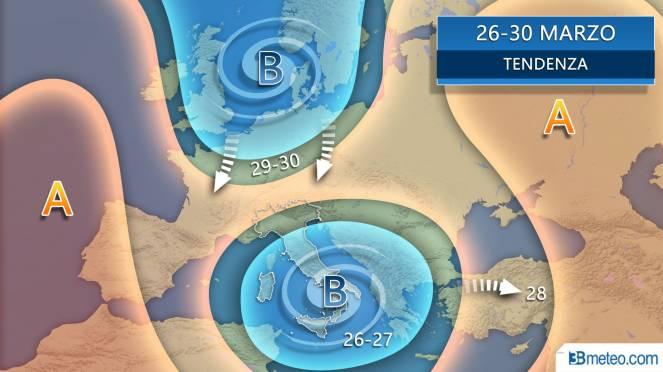 Vortice mediterraneo tra il 26 e il 27 in azione sull'Italia