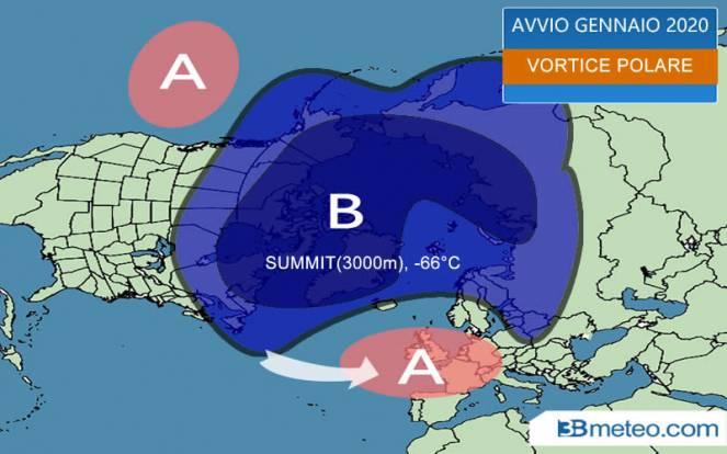 Vortice polare compatto in avvio di gennaio