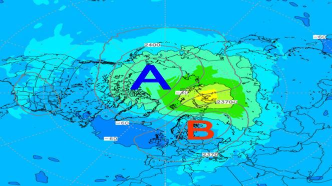Vortice polare stratosferico sostituito dall'anticiclone polare
