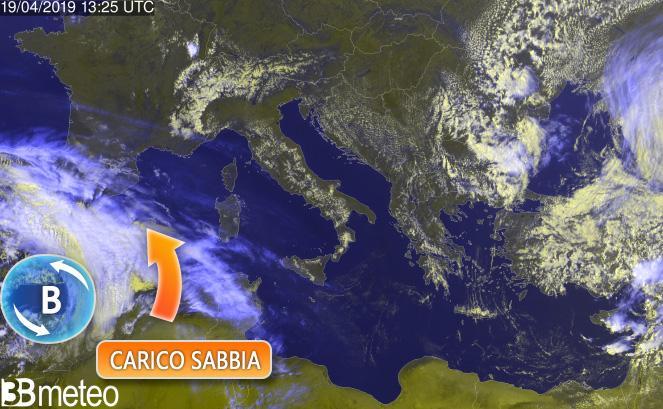 Vortice tra Spagna e Algeria - elaborazione meteosat 3bmeteo