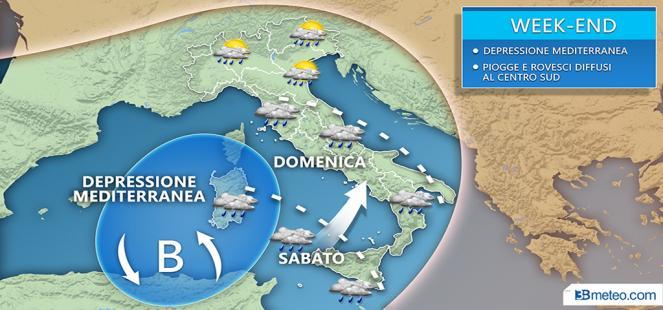 Weekend: insidia vortice mediterraneo, nuovo carico di PIOGGE e ROVESCI