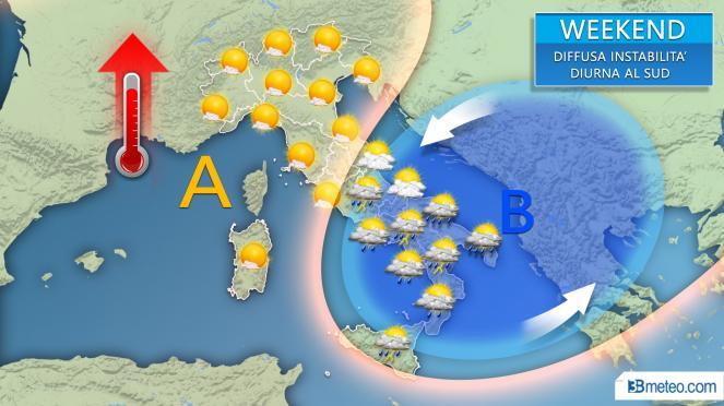 Weekend 1-2 giugno funestato da diffusi temporali diurni al Sud