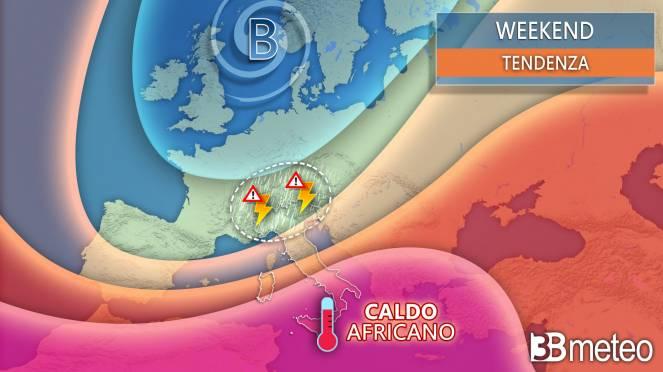 Weekend con forti temporali al Nord e caldo africano al Sud