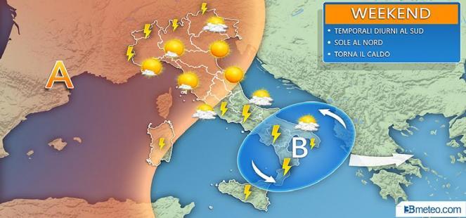 METEO WEEKEND - sole e caldo al Nord, improvvisi rovesci e temporali al Centro-Sud