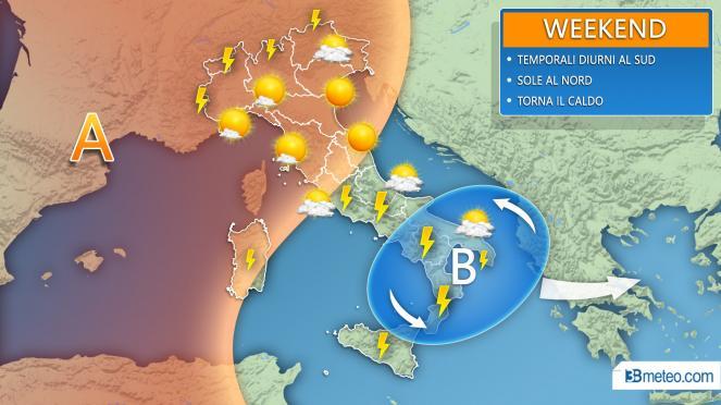 WEEKEND: temporali in agguato al Sud, meglio al Nord