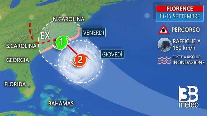 Zoom traiettoria uragano Florence