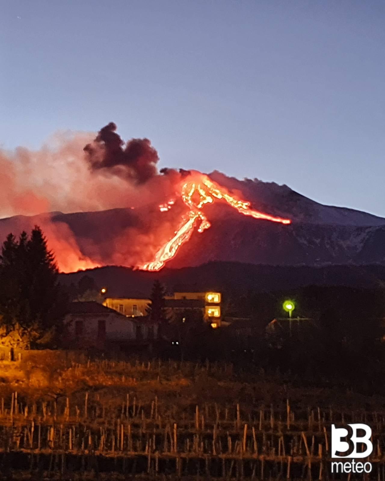 Vista etna in eruzione