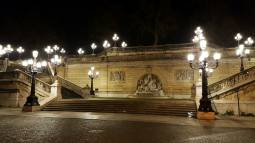 la fontana della Montagnola by night