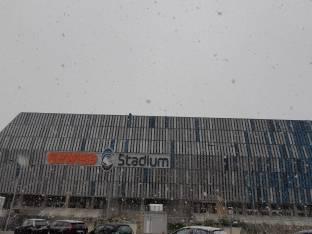 Prima neve al gewiss stadium
