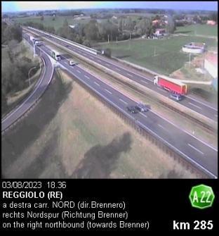 Autostrada A22 del Brennero presso Reggiolo direzione nord